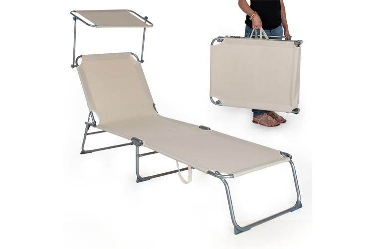TecTake Chaise longue Beige transat